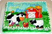 Farm and Cow Birthday Cake