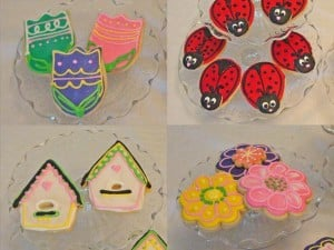 Tulip, birdhouse, lady bug, and flower custom sugar cookies