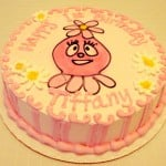 First birthday cake pink and round