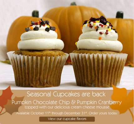 Seasonal Cupcakes are back Pumpkin Chocolate Chip & Pumpkin Cranberry