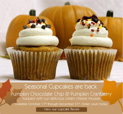 Seasonal Cupcakes are back Pumpkin Chocolate Chip & Pumpkin Cranberry
