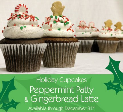 holiday cupcakes Peppermint Patty and Gingerbread Latte