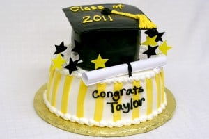 Graduation Cake Black Yellow 2 tier