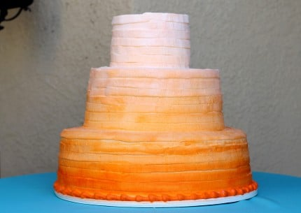 Ombre wedding cake orange