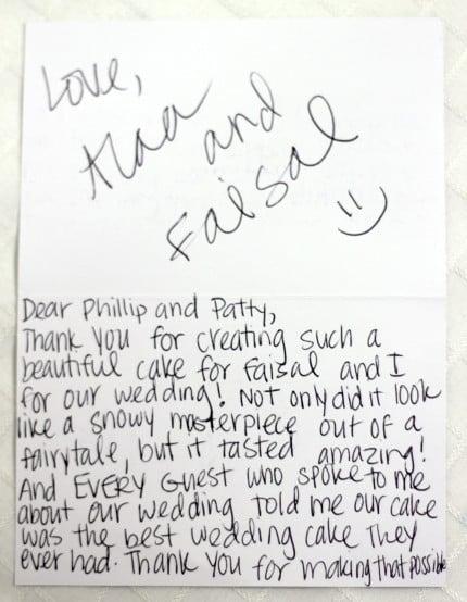 thank you card pattys cakes wedding cake