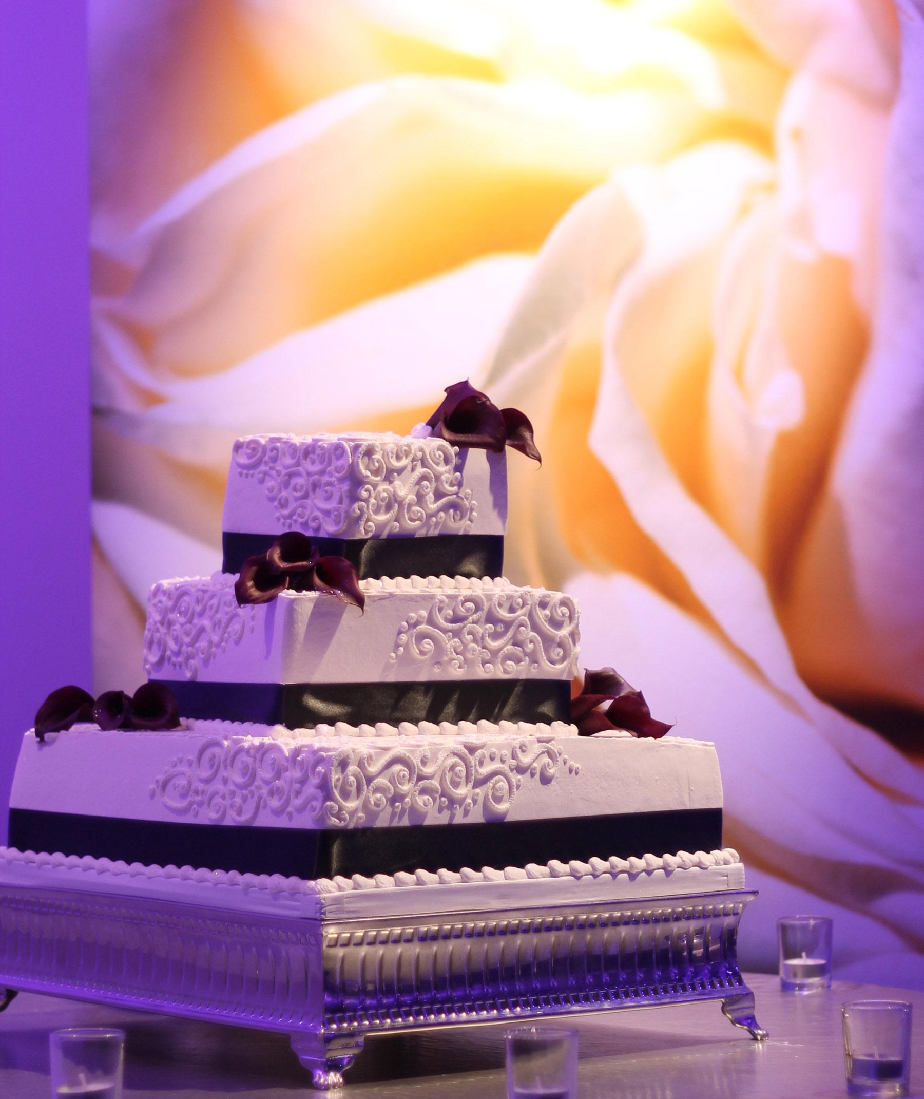 Wedding Cake 3 Tier 7 Degrees Blue Orange Square Black