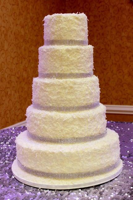wedding cake coconut white bling snow
