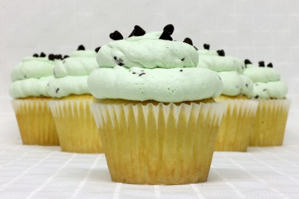 Gluten-Free White with Mint Chip Mousse Cupcake