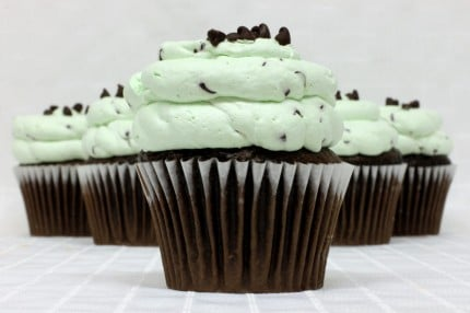 Gluten-Free Chocolate with Mint Chip Mousse Cupcake