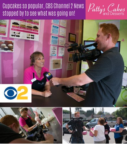 Cupcakes so popular, CBS Channel 2 News stopped by to see what was going on! So cool!!