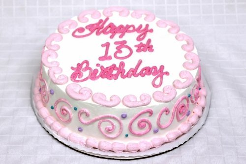 13th Birthday Cake Pink White
