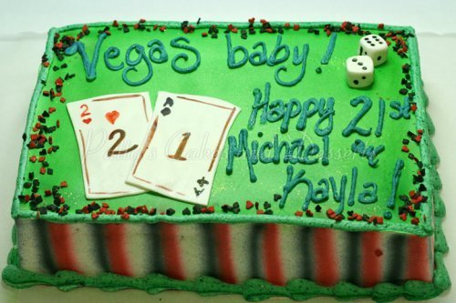 21st Birthday Cakes Cake Vegas Gambling Dice Cards