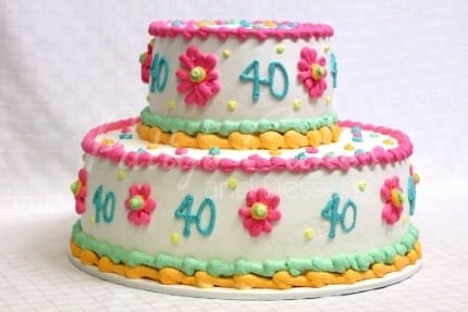 40th-birthday-cake-2-tier-pink-white-green-yellow