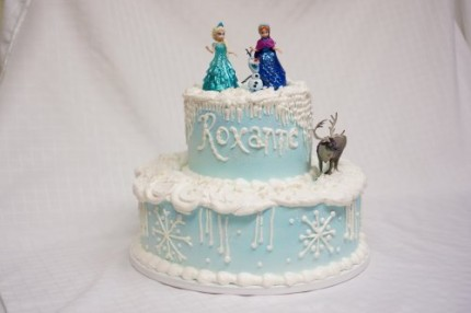 2 tier frozen themed birthday cake
