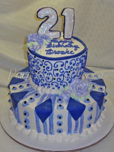 Birthday Cake Blue 21st 2 Tier
