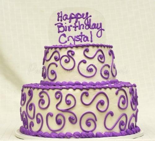 Magnificent Purple 2 Tiered Birthday Cakes Personalised Birthday Cards Arneslily Jamesorg