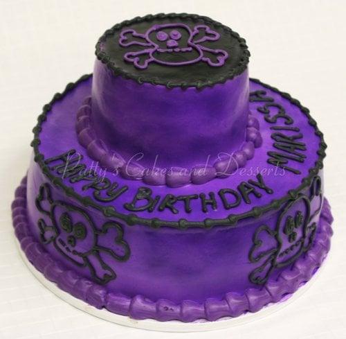 Purple 2 Tiered Birthday Cakes Skulls Cake Black