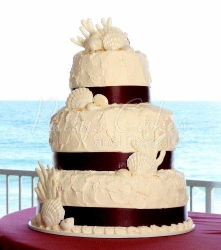3 Tiered Beach Themed Wedding Cakes