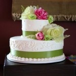 green white wedding cake 2-tier