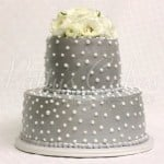 2 tier grey wedding cake