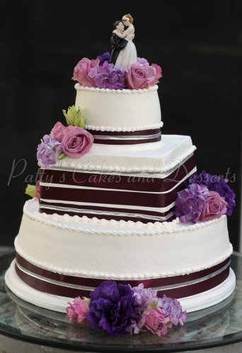 square wedding cake with purple ribbon 3 tiered and squared wedding cakes 20438