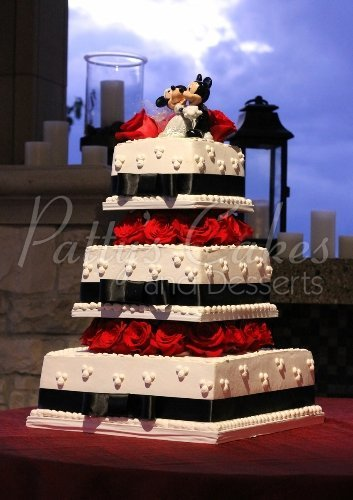 Black White Red Square Wedding Cake Mickey