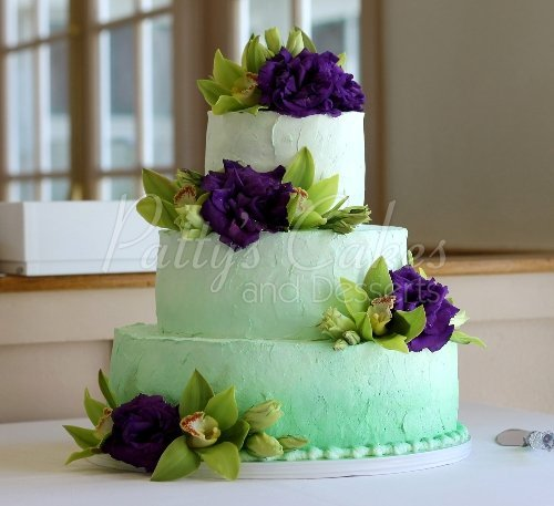 Beautiful ombre- fade 3 tier wedding cakes