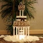 wedding cake brown white fountain round