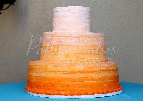 wedding cake ombre orange round