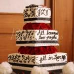 wedding cake script back white red flowers