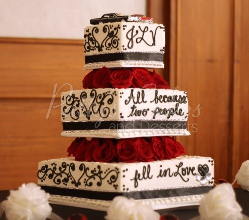 Wedding Cake Script Back White Red Flowers Tags 3 Tier Cakes