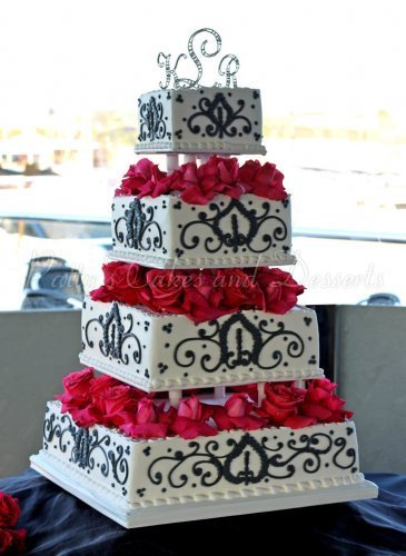 Wedding Cake White Black Red Flowers 4 Tiers