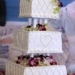 wedding cake white cross hatch heart square