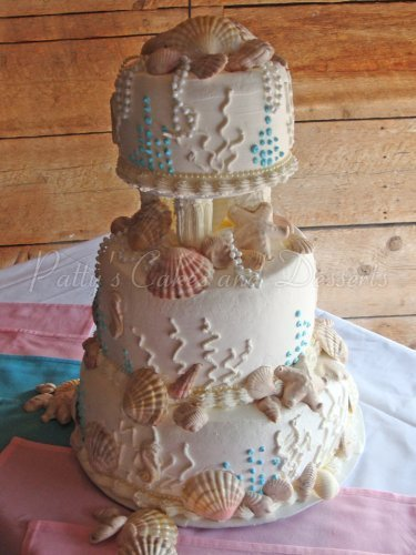Beach themed wedding cakes archives pattys cakes and desserts wedding cake with sea shells junglespirit Image collections
