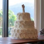 white rosette wedding cake 1
