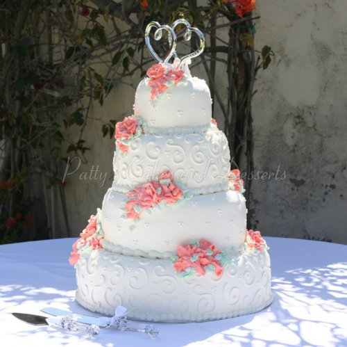 Weddings categories page 4 of 10 pattys cakes and desserts white wedding cake red flowers mightylinksfo