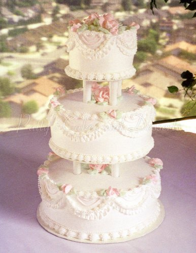 Beautiful 3 tier wedding cakes wedding cake garlands and pearls classic junglespirit Image collections
