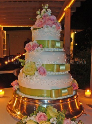 Wedding cakes without flowers archives pattys cakes and desserts wedding cake green ribbon pink flowers mightylinksfo
