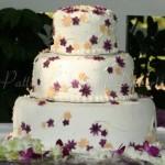 wedding cake  purple white yellow