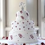 wedding cake red white hearts 3 tier round