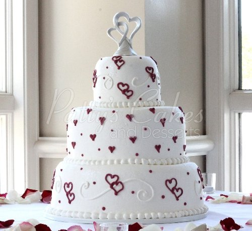 Red rose wedding cakes archives pattys cakes and desserts wedding cake red white hearts 3 tier round junglespirit Gallery