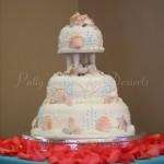 wedding-cake-sea-shell-beach-orange-flowers