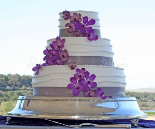 Wedding Cake Stand Purple Flowers Outdoors