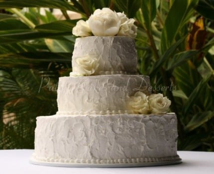 wedding cake textured white flowers