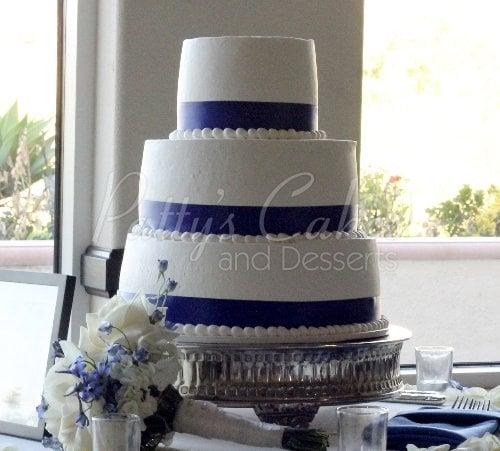 Wedding Cake White Purple Clean Basic 3 Tier Round