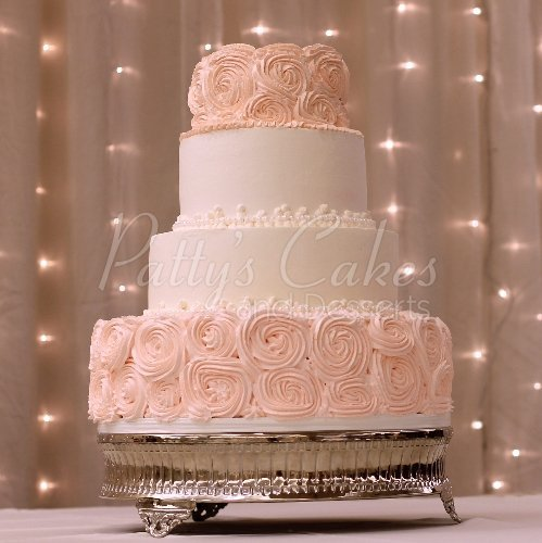 Pink Rosette Wedding Cake Tags 4 Tier