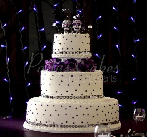 Gorgeous 3 tier purple wedding cakes wedding cake purple dots day of dead 3 junglespirit Choice Image