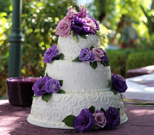 white wedding cake with purple flowers 3 tier cakes archives patty s cakes and desserts 27416