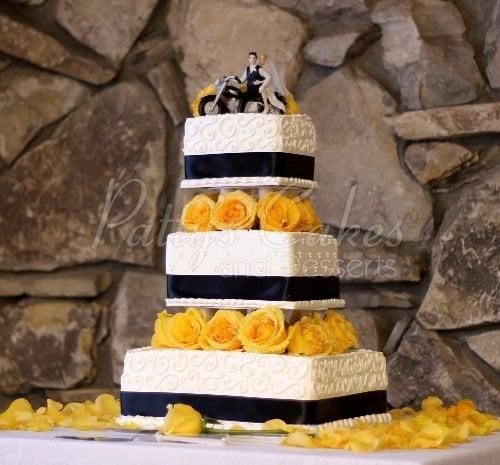 Yellow Blue Wedding Cake