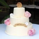 off white combed wedding cake